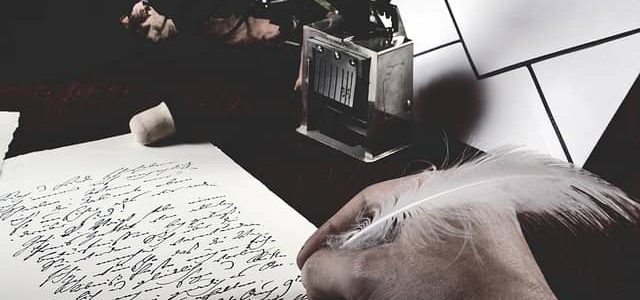 writing poem for a funeral with feather quill